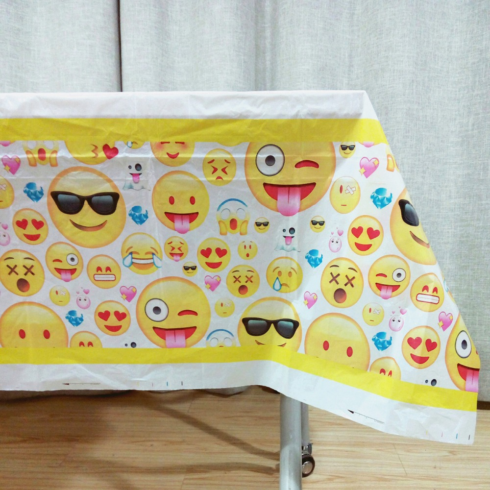 Baby Kids Birthday Emoji Party Supplies Decorations Ideas Smille Expression Disposable Paper Plastic Table Cloths Covers Favors
