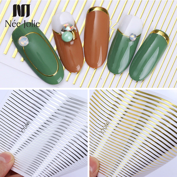 1 Sheet Gold Silver 3D Nail Sticker Striping Tape Lines Design Multi-size Strip Tape Adhesive DIY Foil Manicure Nail Art Decals