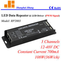 Free Shipping Constant Current 700mA Amplifier Repeater Pwm Driver 3Channels 12V 48V 108W Pn RP2003