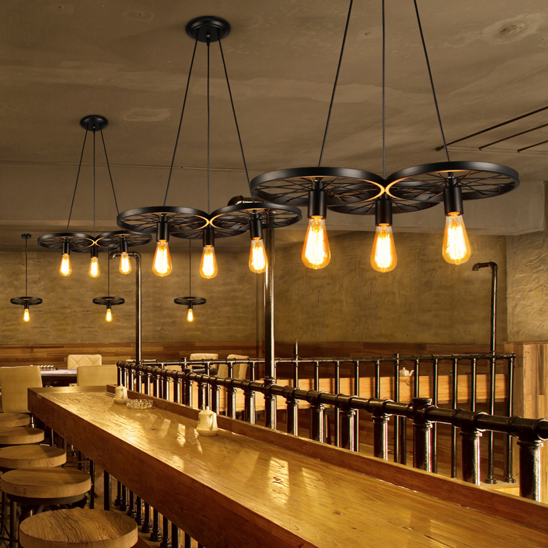 Vintage Industrial Chandelier loft Restaurant Bar American Cafe Internet Cafe Creative Personality Wheel Chandelier led lighting