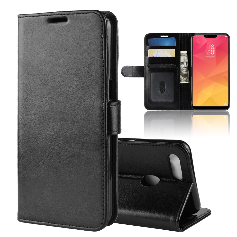 A5 Case for OPPO A5 Cases Wallet Card Stent Book Style Flip Leather Covers Protect Cover black A 5 for OPPO-A5