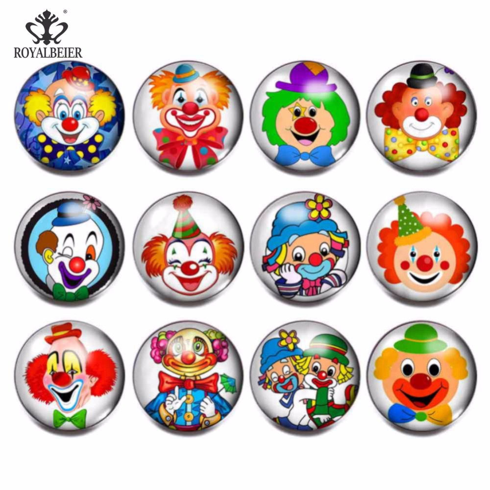 RoyalBeier 12pcslot Cute Clown Theme Glass Charms Snap Button Jewelry 18mm For 20mm Snaps Bracelet Snap Jewelry KZ0830