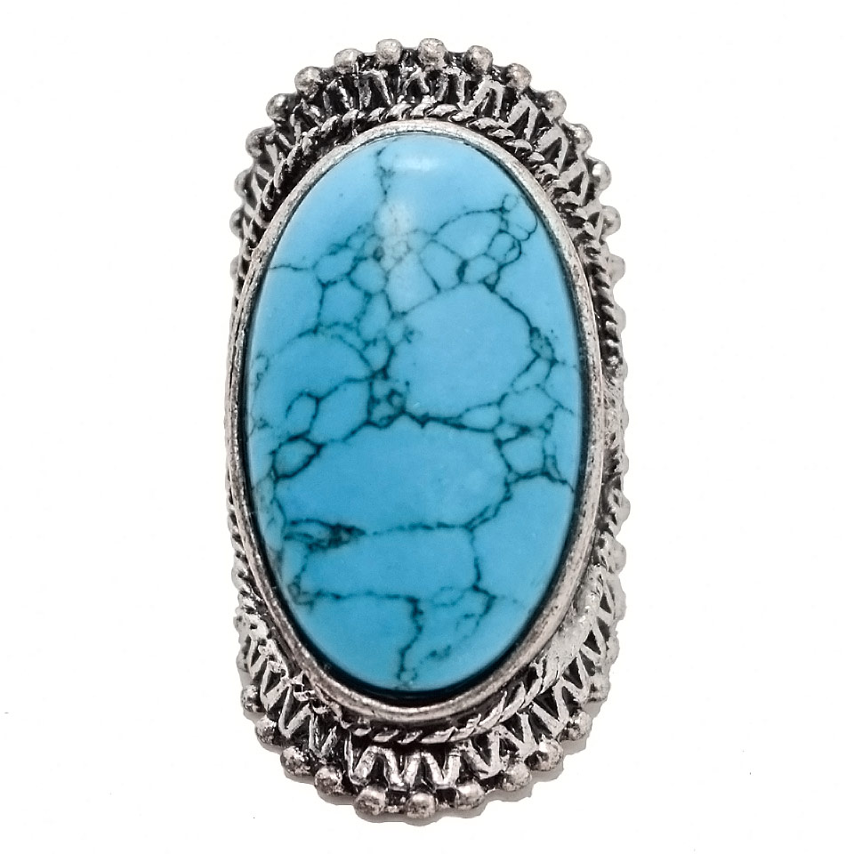 2016 New Arrival Trendy Boho Antique Silver Plated Crack Natural Stone Big Rings For Women Large Ring Nuevos Anillos