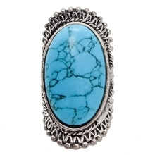 2016 New Arrival Trendy Boho Antique Silver Plated Crack Natural Stone Big Rings For Women Large Turquoise Ring Nuevos Anillos