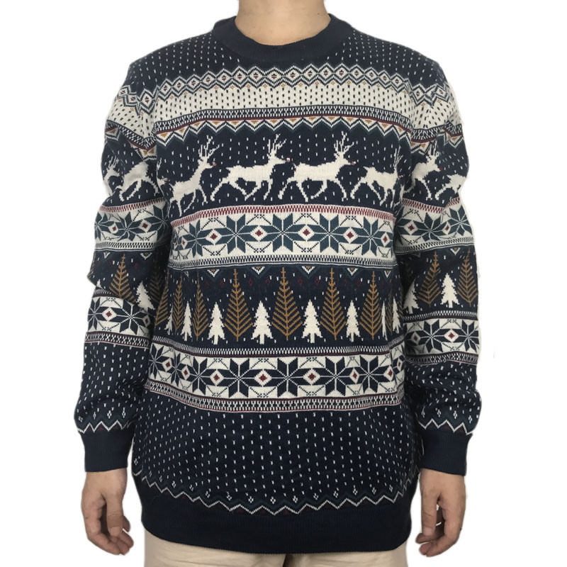 Funny Light Up Ugly Christmas Sweater for Men and Women Navy Blue Male Xmas Pullover Jumper Reindeer Patterned Plus Size S-4XL 2