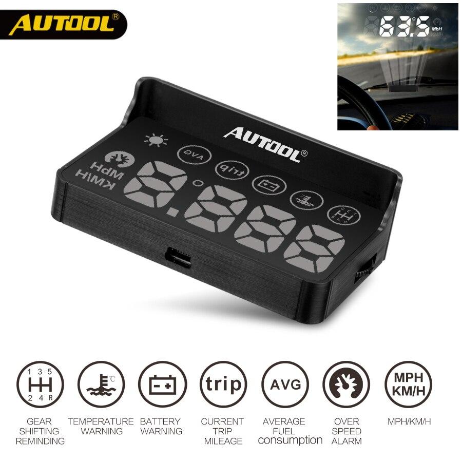 AUTOOL X30 HUD OBD 2 cabeza pantalla GPS velocímetro Headup OBD2 proyector Headup inteligente Digital Auto Universal medidor con pantalla