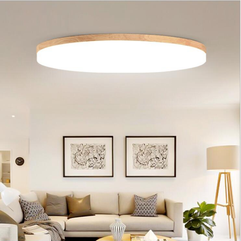 Living Room In Bedroom: Modern Wood Ceiling Mount LED Light Ceiling Lamp With Lens