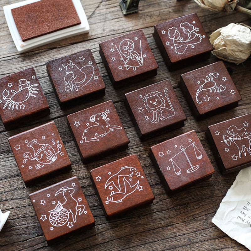 Vintage constellation wood stamp DIY craft wooden rubber stamps for scrapbooking stationery scrapbooking standard stamp in Stamps from Home Garden