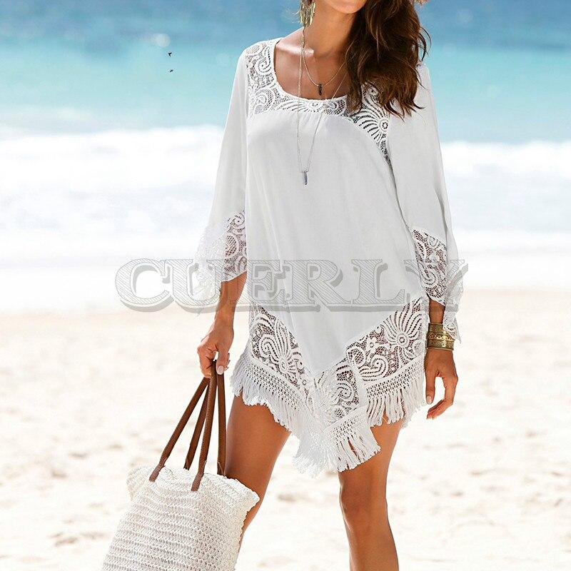 Grande taille O cou dentelle Patchwork Mini robe de plage Sexy tunique pour plage 2019 curement cortos tenue décontractée blanc noir femmes robe