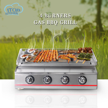 4-Burner Gas BBQ Grill Smokeless Stove Commercial Fast Delivery Adjustable Height Portable