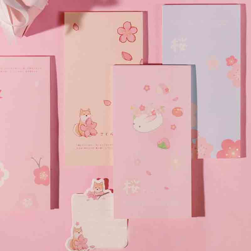 1 Pcs 24Sheets Note For Sakura Cute Pink Japan Fashion Note Pad 8*15.7cm DIY Message Paper Memo Student Kids Gift