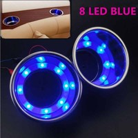 MAYITR 2PCS Blue 8 LED Light Recessed Car Cup Holder Stainless Steel Drink Holder For Auto