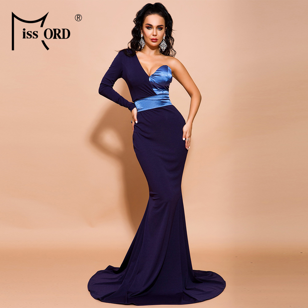 Missord 2019  Women Sexy  V Neck Off Shoulder One Sleeve Backless Dresses Female Patchwork Maxi Dress FT19618