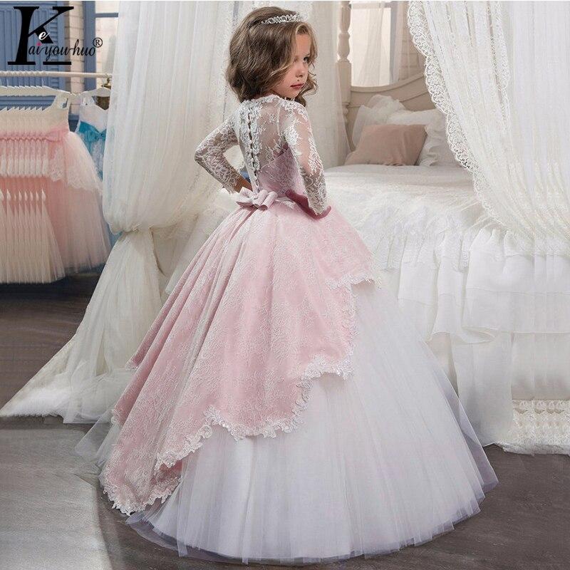 New Princess Girls Dress 2019 Summer Lace Performance Evening Party Dress Costume Kids Dresses For Girls Wedding Dress Vestidos