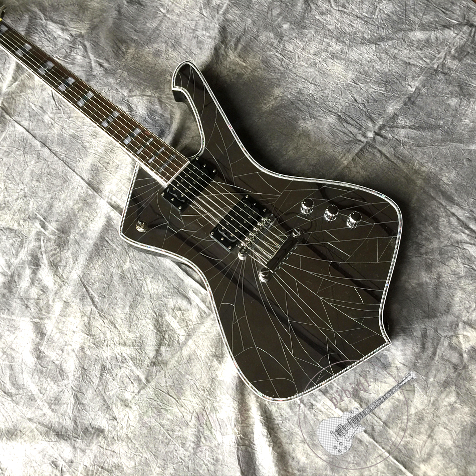 Free delivery, new 6 string advanced electric guitar, special-shaped guitar, mirror crack guitar, silver hardware, customizable image