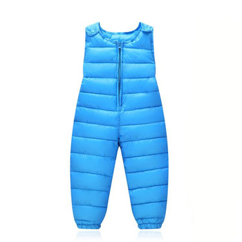 Baby Children's Warm Strap Pant for Girls Boys Winter Down-Cotton Jumpsuit Overalls Suit 2019 Kids Casual Rompers Clothes Sets winter rompers baby girl newborn clothes children boys girls jumpsuit kids down cotton overalls snowsuit hoodies warm clothing