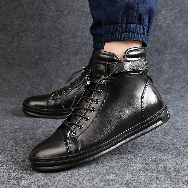 Stretch the buckleWaterproof Winter Warm Snow Boots Men Cow Split Leather Motorcycle Ankle High Cut Male Skateboarding Shoes