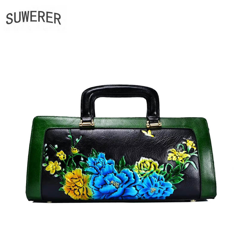 SUWERER women genuine Leather bags 2019 new fashion luxury Handmade drawing Flowers designer women leather handbags SUWERER women genuine Leather bags 2019 new fashion luxury Handmade drawing Flowers designer women leather handbags