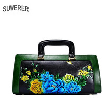 SUWERER women genuine Leather bags 2019 new fashion luxury Handmade drawing Flowers designer leather handbags