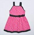 Suspensórios impressão coração rosa meninas vestido de verão crianças fantasia infantil nina
