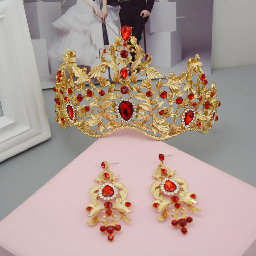 Baroque Style Gold Leaf Red Green Crystal Wedding Tiara Crown