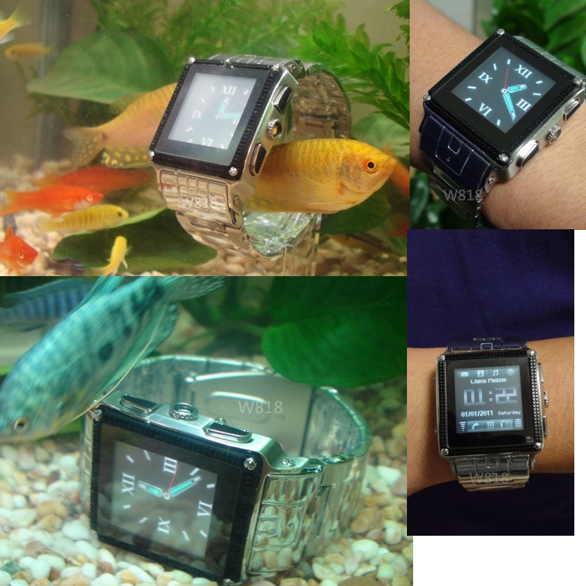 ФОТО Waterproof watch phone W818 Pure Stainless Steel IP67 quadband camera,Java,MP34,free shipping black silver