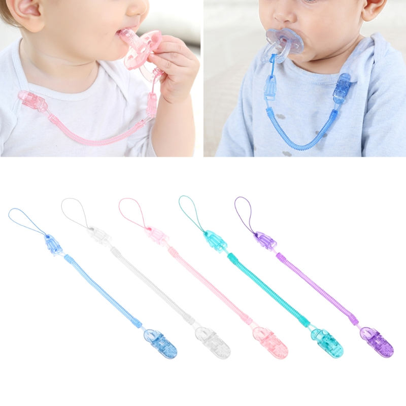 Baby Toddler Dummy Pacifier Soother Spring Nipple Clip Chain Strap Holder DB