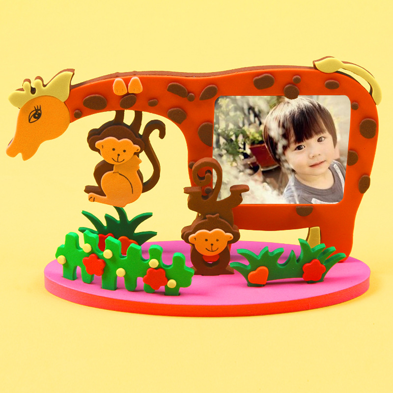Kids Cartoon Animal Pattern EVA Photo Frame Craft Kits Baby DIY Creative Educational Handmade Sticker Toys Gift