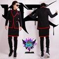 S-5XL! homens cantora de boate DJ Chi Long GD direito modelos de passarela na Europa e América Do preto escovado avental vermelho trajes terno
