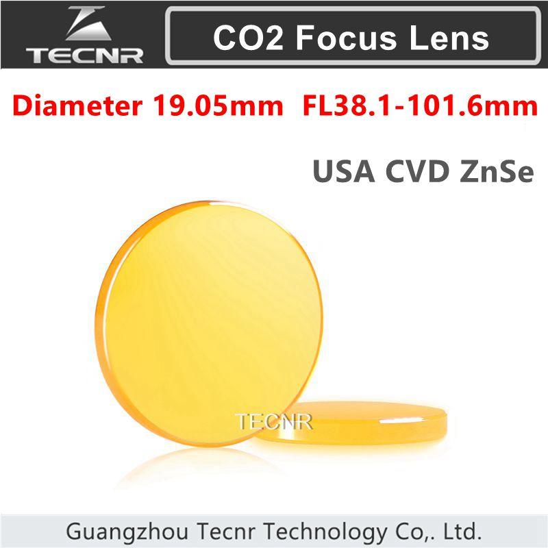 USA CVD ZnSe Co2 Laser Focus Lens diameter 19.05mm  FL 38.1-101.6mm 1.5 2 2.5 3 4 cvd znse co2 laser focus lens with diameter 20mm focus length 50 8mm thickness 2mm