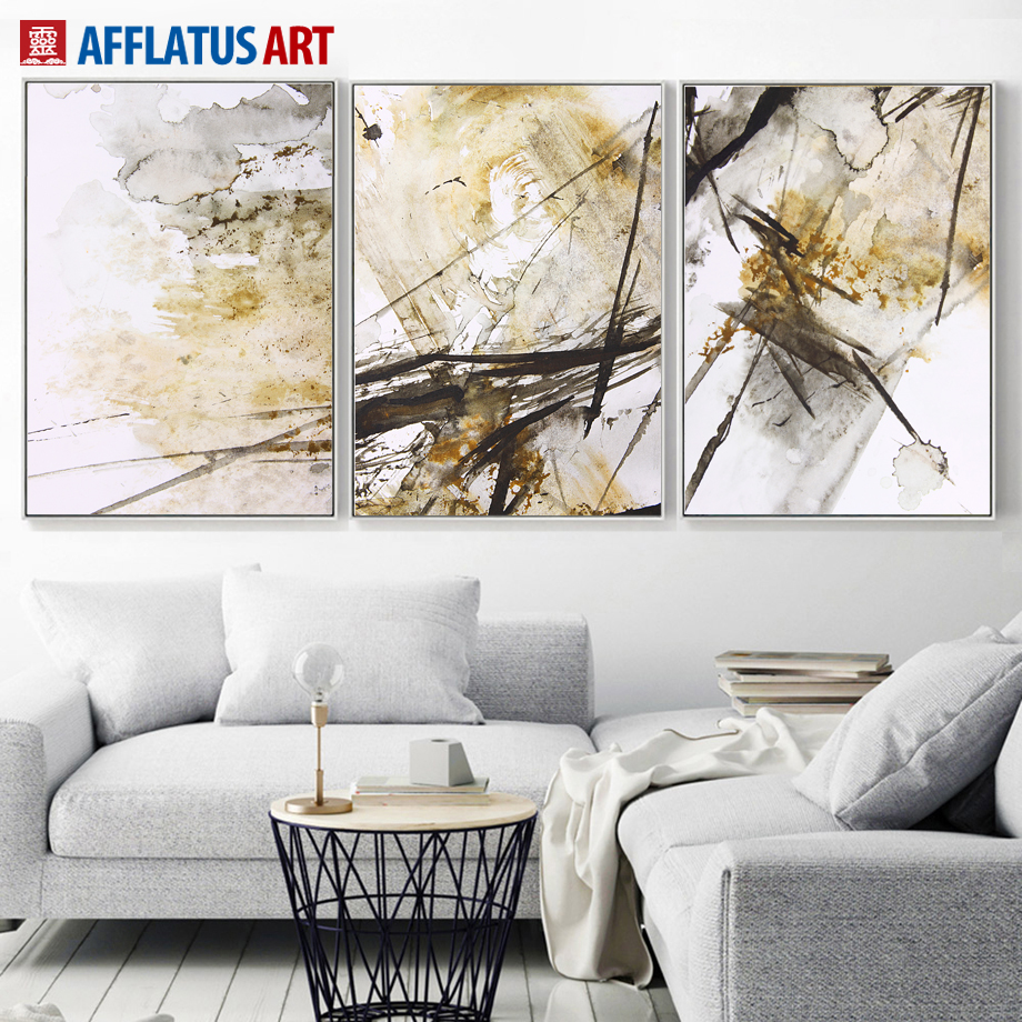 Big Canvas Art Modern Watercolor Abstract Ink Splash Big: AFFLATUS Abstract Ink Lines Canvas Painting Wall Art