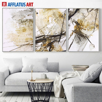 Triptych Watercolor Abstract Ink Lines Canvas Painting Wall Art Printing Poster Oil Painting Style Wall Pictures