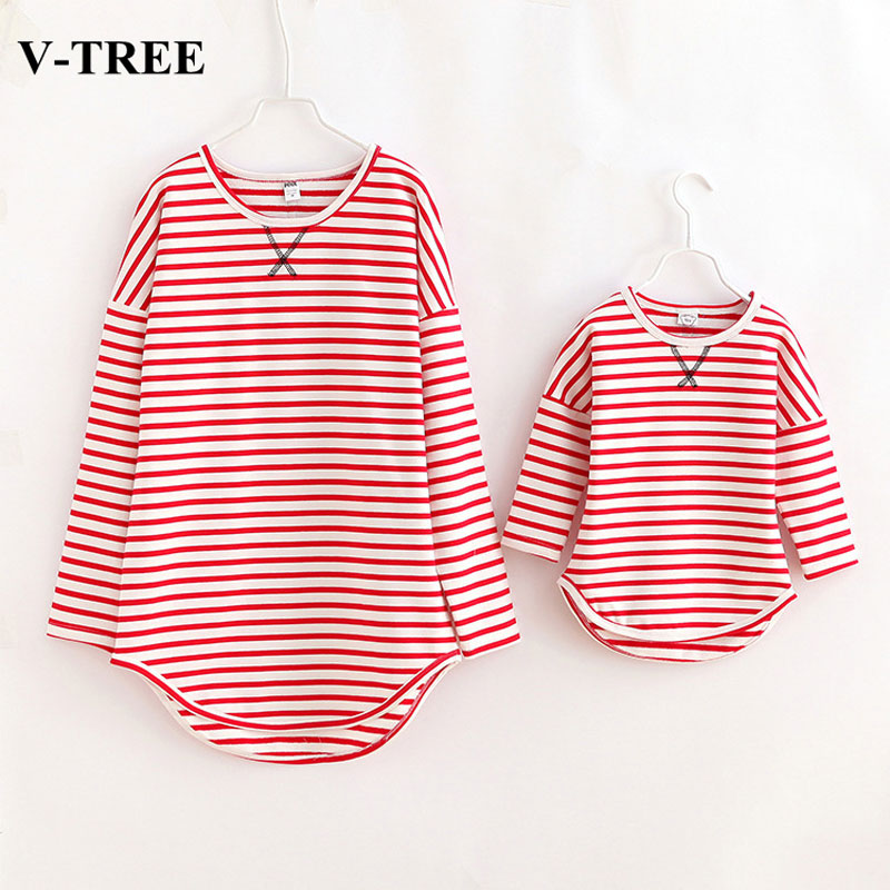 V-TREE family shirt clothes for mother and daughter striped matching clothes family look mommy and me outfits clothing girl