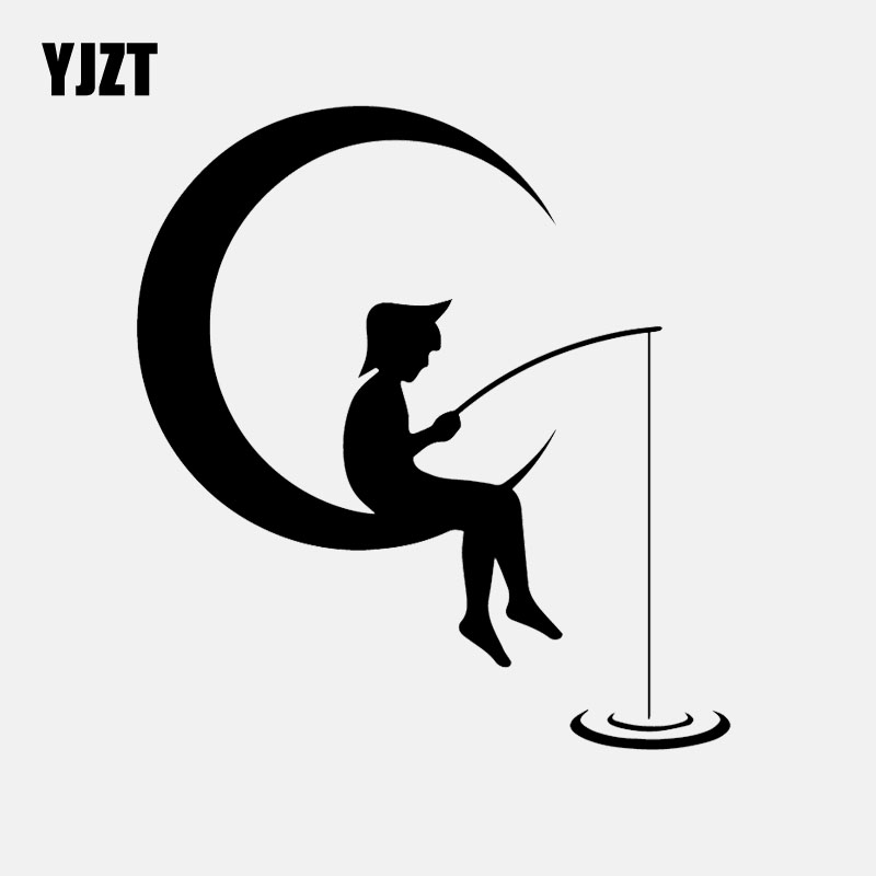 YJZT 14.7CM*16CM Vinyl Decal Cartoon Boy On The Moon Crescent Fishes Car Stickers Decal Black/Silver C24-0813