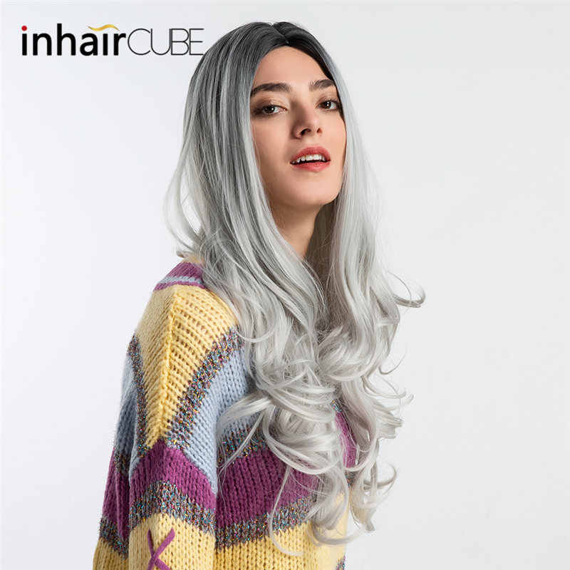 INHAIR CUBE 26 Inches Women Synthetic Wigs Body Wave Long Hair Middle Parted Breathable Elastic Wig Cap Free Shipping