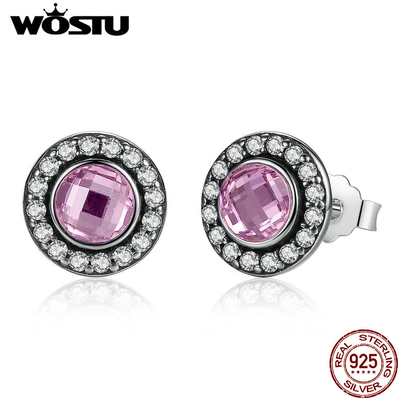 New Arrival 100% 925 Sterling Silver Brilliant Legacy Stud Earrings With Pink CZ For Women Original Jewelry Authentic Gift