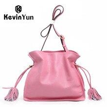 Kevin yun moda de alta calidad de diseñador de la marca bolsas de hombro femenino de cuero genuino bolso cubo bolsas de mensajero ocasional de la señora