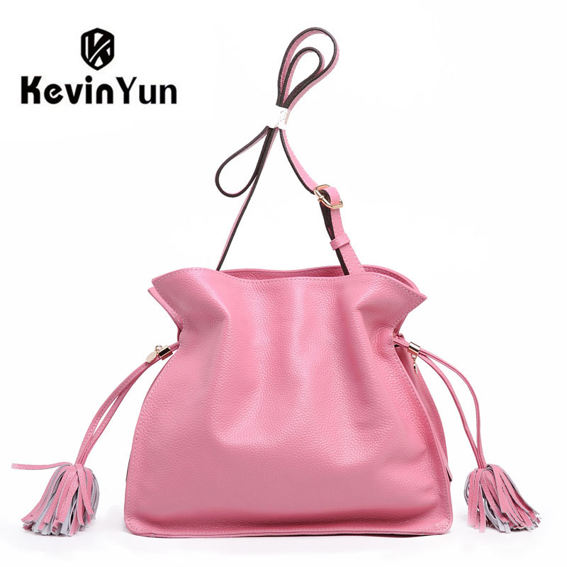 KEVIN YUN fashion high quality designer brand female shoulder bags genuine leather bag bucket casual lady messenger bags 2017 new female genuine leather handbags first layer of cowhide fashion simple women shoulder messenger bags bucket bags
