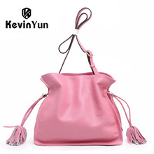 KEVIN YUN fashion high quality designer brand female shoulder bags genuine leather bag bucket casual lady messenger bags