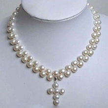 natural pearl jewelry Nice Charming 2 Rows White Cultured Pearl Cross