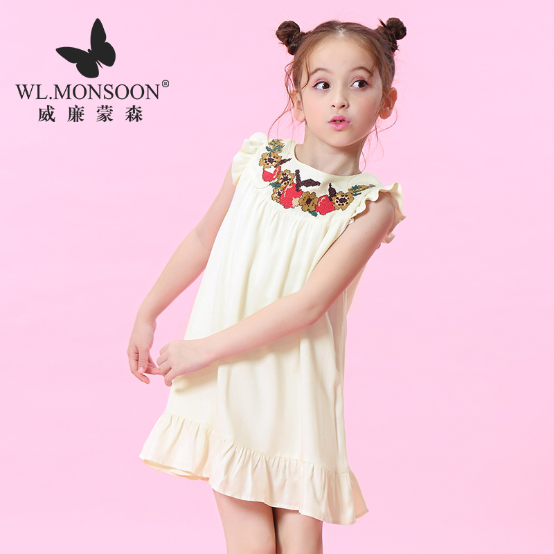 W.L.monsoon Children's Clothing 2018 Summer New Girls National Style Embroidery Big Short Sleeve Fashion dress laser cut insert bishop sleeve embroidery dress