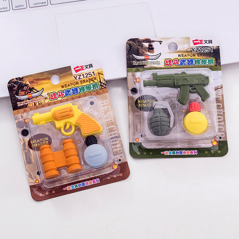3 Pcs/set Creative Weapons Eraser Pistol Shape Pencil Rubber Eraser Kawaii Stationery School Supplies Papelaria Kids Gifts