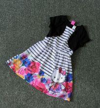 4-10 âges d'été de dessin animé filles vêtements de haute qualité en mousseline de soie bonjour kitty formelle vêtements filles robe en gros filles vêtements CC