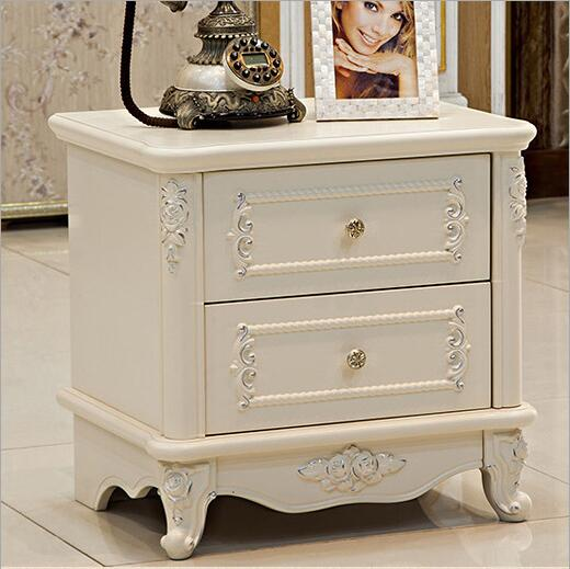 High Quality Bed Fashion European French Carved Bed Nightstands O1239