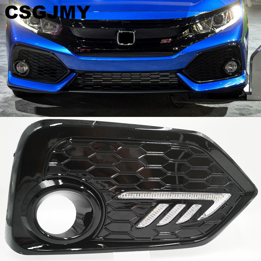 2PCS For Honda CIVIC Hatchback 2016 2017 2018 2019 Daytime Running Light LED DRL Fog Lamp Driving Lights Yellow Turn Signal Lamp