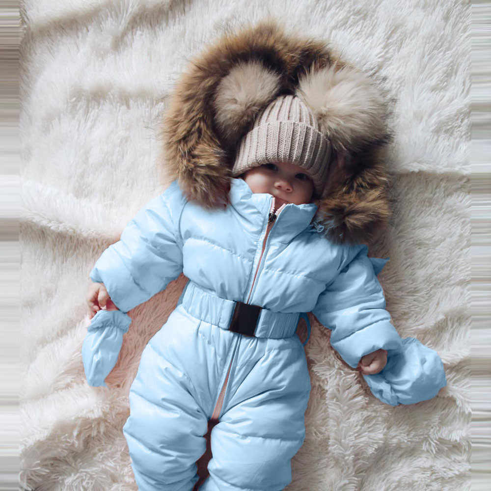 b33a47c1b8fb Winter Infant Baby Boy Girl Romper Jacket Hooded Warm Thick Coat Outerwear  jumpsuit for newborns high