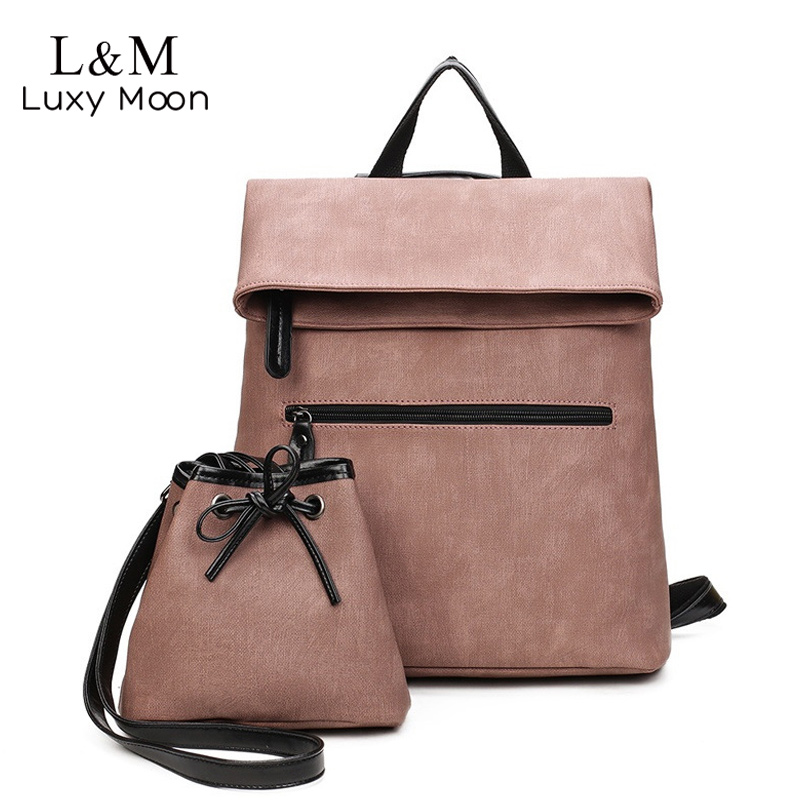 2 PCS Vintage Leather Backpack Women PU Leather Backpacks with Small Pocket  Large Black Pink Rucksack Girls mochila XA622H 923117d713