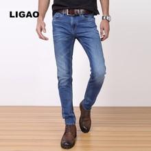 LIGAO 2017 Men's Jeans Elastic Stretch Denim Long Pants Trousers Comfortable Male Straight Pant Soft Mens Scratched Jeans