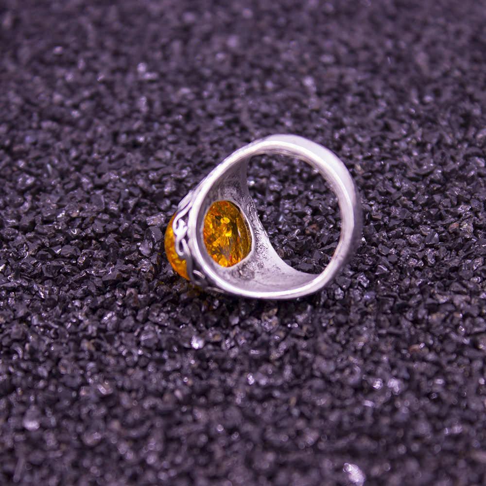 แฟชั่น 2019 ร้อนคืนแหวนสีเหลืองหินขายดีทิเบตแหวนเงินผู้หญิง