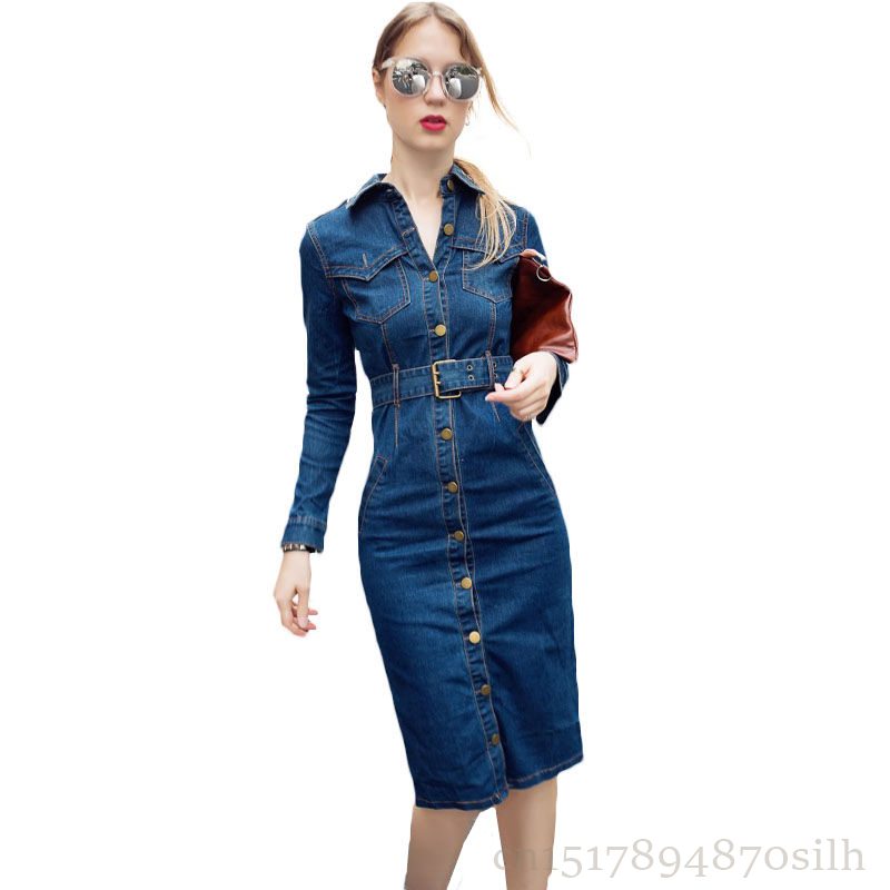 2018 NEW Spring Summer Shirt Dress Women Vintage Long Sleeve Jeans Dresses Girls Fashion Package Hip